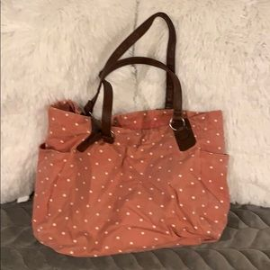 Handbags - Pink Polka Dot Canvas Tote Bag